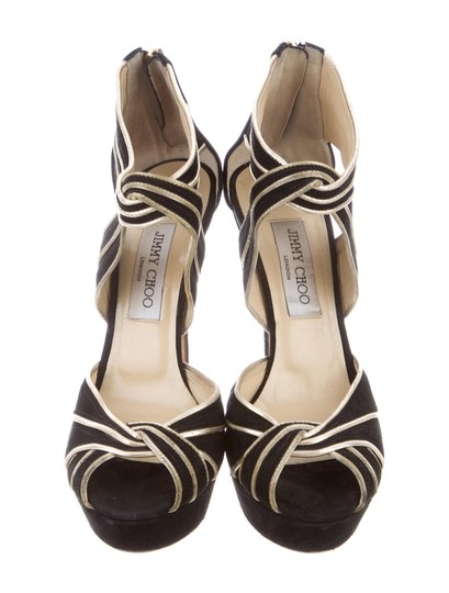 Jimmy Choo Suede Gold Black Sandals Image 2