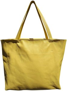 Céline Cabas Leather Tote in yellow