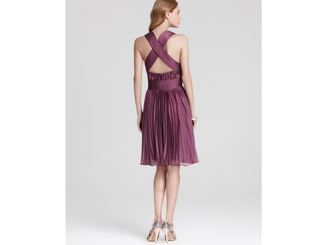 Halston Orchid Halter Accordion Pleated Short Cocktail