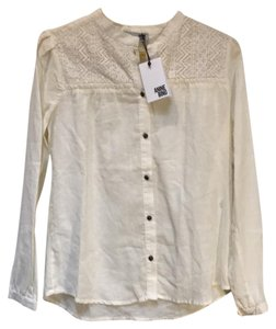 ANINE BING Lace Trim Cotton Button Down Longsleeve Top ivory