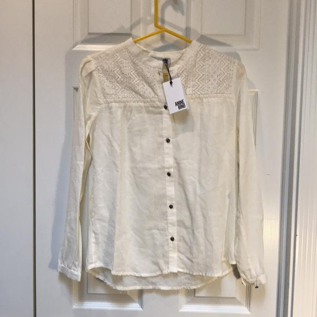 ANINE BING Lace Trim Cotton Button Down Longsleeve Top ivory Image 1