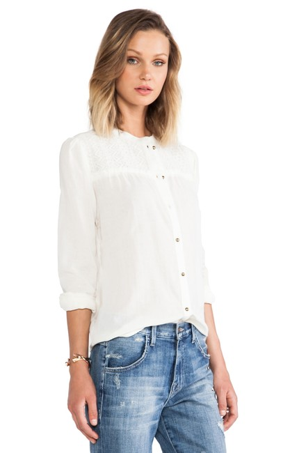 ANINE BING Lace Trim Cotton Button Down Longsleeve Top ivory Image 10