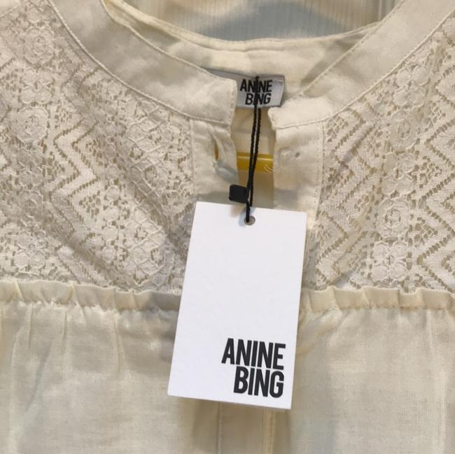 ANINE BING Lace Trim Cotton Button Down Longsleeve Top ivory Image 2
