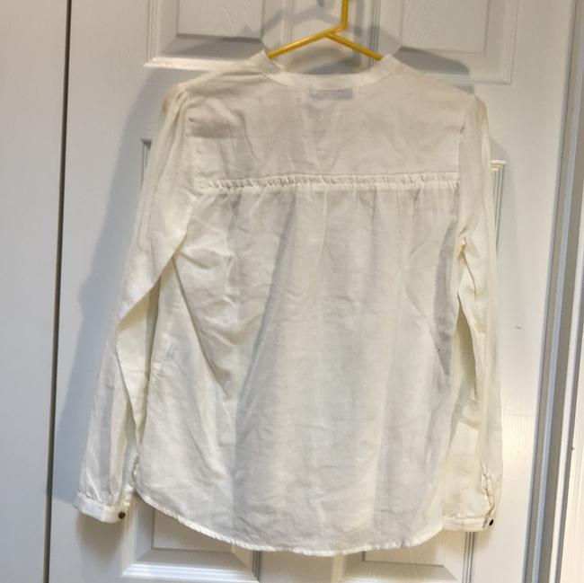 ANINE BING Lace Trim Cotton Button Down Longsleeve Top ivory Image 6