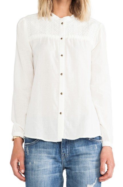 ANINE BING Lace Trim Cotton Button Down Longsleeve Top ivory Image 8