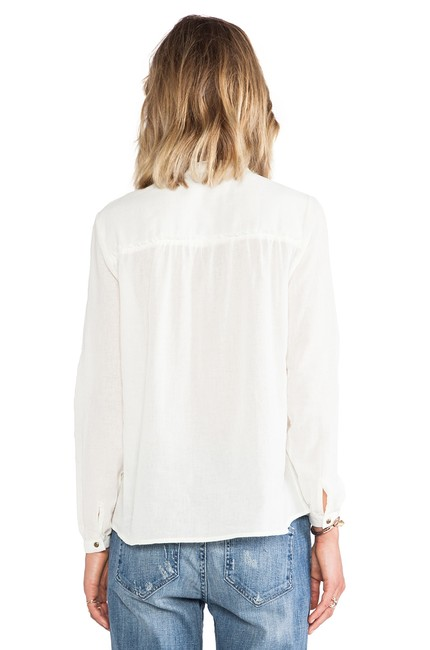 ANINE BING Lace Trim Cotton Button Down Longsleeve Top ivory Image 9