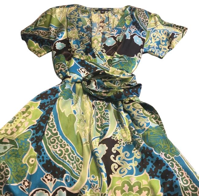 Item - Green Blue Brown White Silk Wrap Mid-length Night Out Dress Size Petite 10 (M)