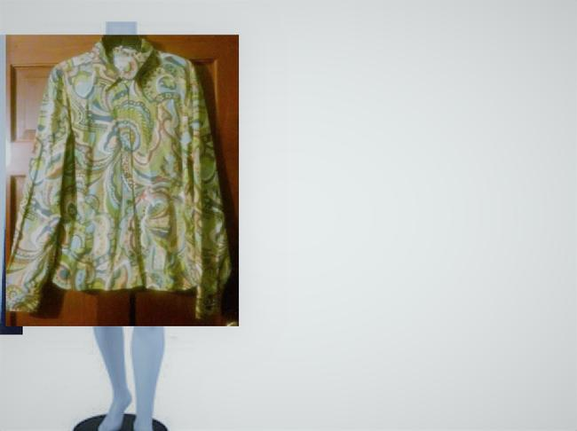 Ann Taylor Button Down Shirt green//blue/red/yellow/white Image 1