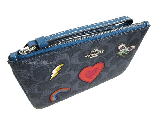 Coach Signature Coated Canvas Logo Embroidery Wristlet in Denim (Blue) Image 2
