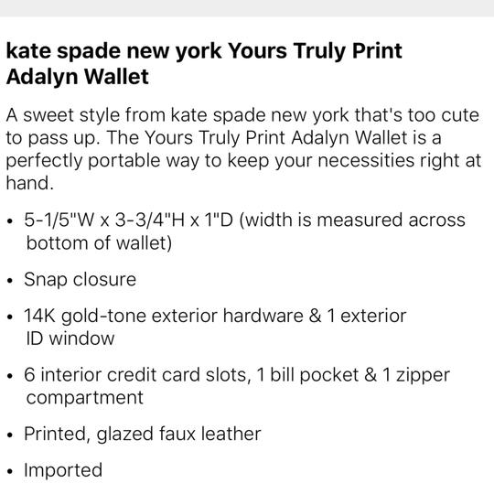 Kate Spade Heartparty yours truly Wallet Image 9