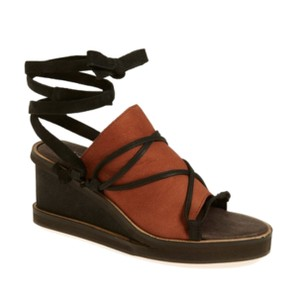 Free People Wraparound Tie Leather Boho Charm Black + Tan Wedges
