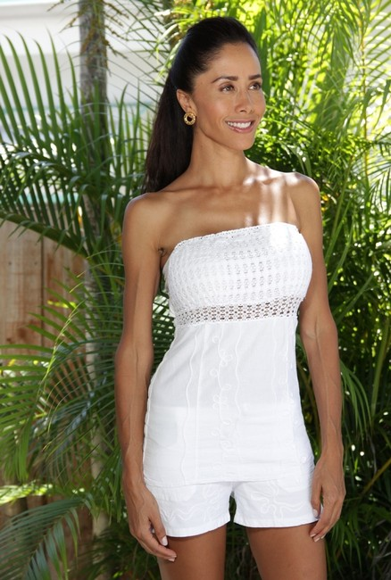 Lirome Embroidered Casual Chic Sexy Summer Top White