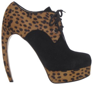 Walter Steiger Print Pony Hair Lace Up Platform Leopard Boots