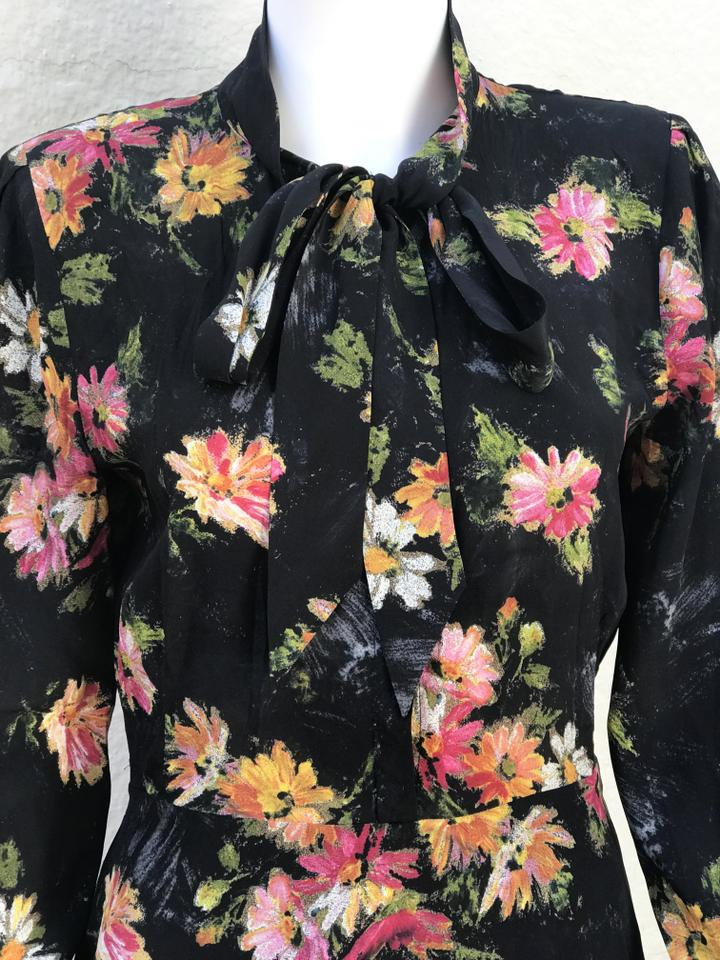 544e69a37a The Kooples Pussy Bow Long Sleeves Silk Floral Printed Dress Image 5. 123456