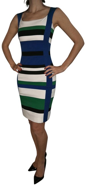 Item - Blue/Green Striped Body-con Mid-length Formal Dress Size 2 (XS)