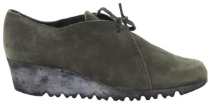 Arche Lace Up Low Heel Demi Wedge Moccasin Green Boots