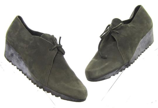 Arche Lace Up Low Heel Demi Wedge Moccasin Green Boots Image 1