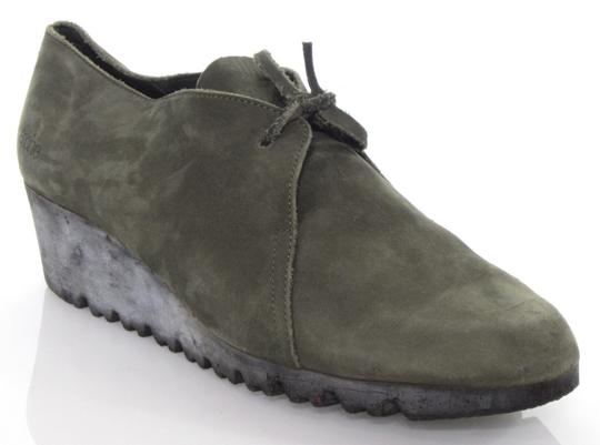 Arche Lace Up Low Heel Demi Wedge Moccasin Green Boots Image 3
