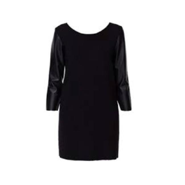 Preload https://img-static.tradesy.com/item/23279352/zara-black-with-leather-sleeves-short-night-out-dress-size-8-m-0-0-650-650.jpg