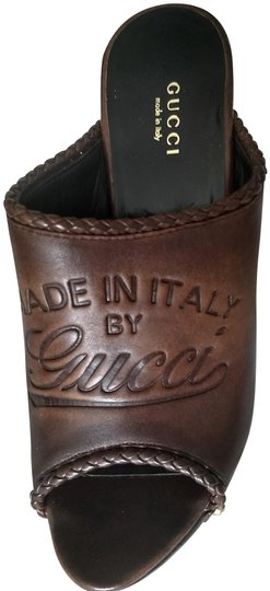 Gucci Logo Studded Brown Mules Image 1