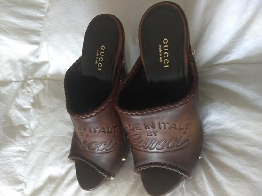Gucci Logo Studded Brown Mules Image 4