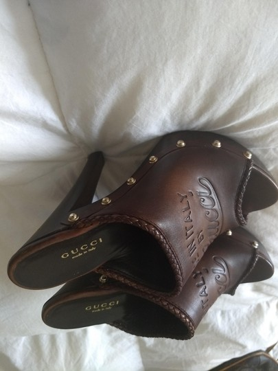 Gucci Logo Studded Brown Mules Image 6