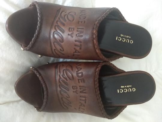 Gucci Logo Studded Brown Mules Image 7