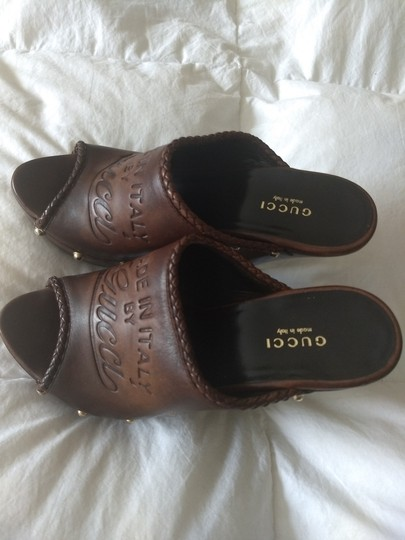 Gucci Logo Studded Brown Mules Image 8