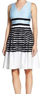 Anne Klein Pleated Colorblock Fit & Flare Stripe Dress