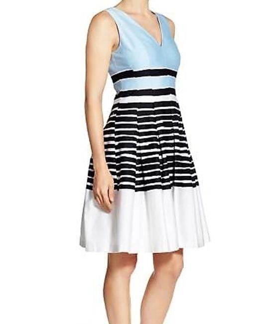 Anne Klein Pleated Colorblock Fit & Flare Stripe Dress Image 2