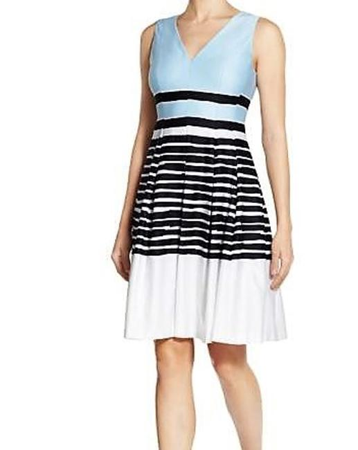 Anne Klein Pleated Colorblock Fit & Flare Stripe Dress Image 3