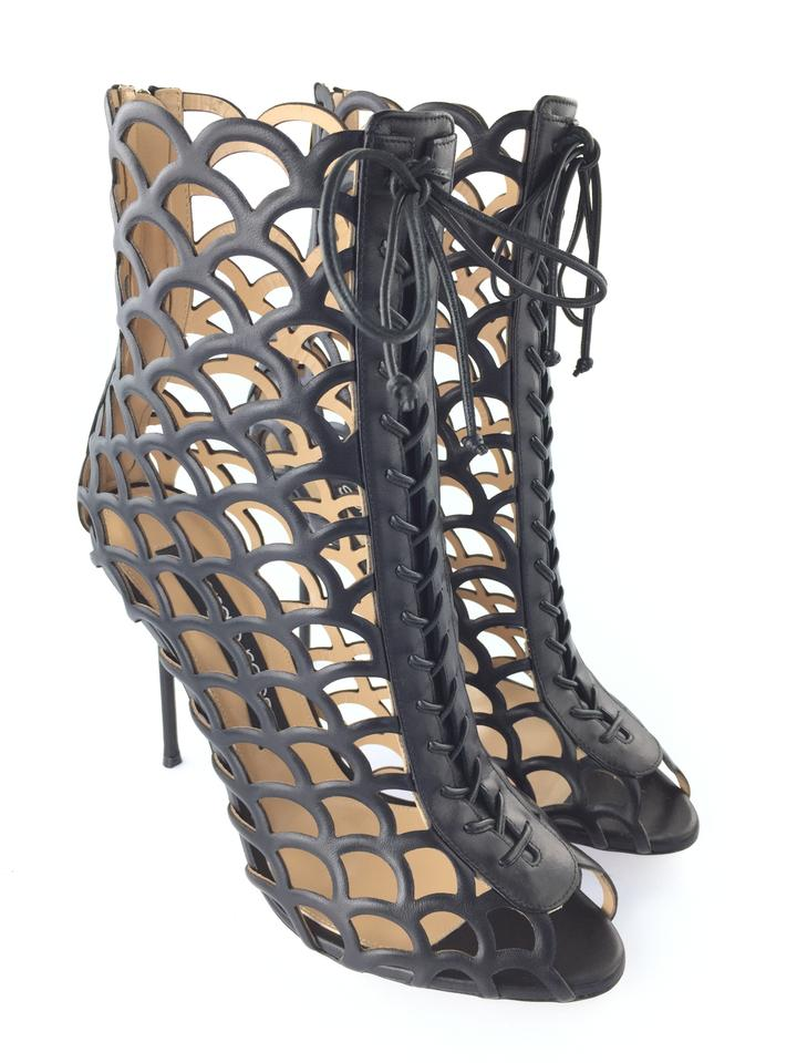 e0bff091a57 Sergio Rossi Black Mermaid Leather Sandal Boots Booties Size EU 41 ...