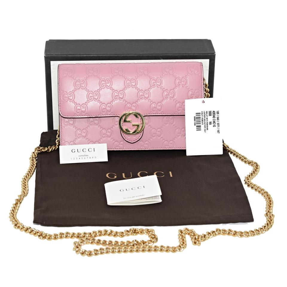 a41c992fe2a6 Gucci 409304 Icon Gg Signature Chain Wallet Violet-rose Leather Cross Body  Bag