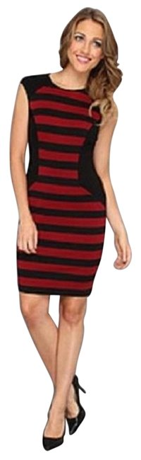 Item - Red and Black & Stripe Cap-sleeve Sheath ) Mid-length Casual Maxi Dress Size 14 (L)