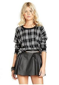 BCBGeneration Mini Faux Leather Pleated Metallic Mini Skirt BLACK
