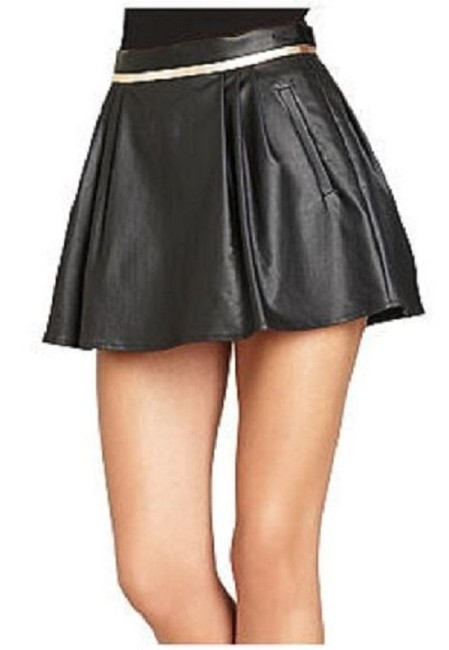 BCBGeneration Mini Faux Leather Pleated Metallic Mini Skirt BLACK Image 1