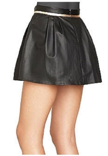 BCBGeneration Mini Faux Leather Pleated Metallic Mini Skirt BLACK Image 2