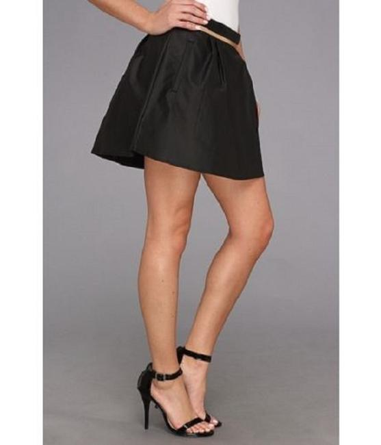 BCBGeneration Mini Faux Leather Pleated Metallic Mini Skirt BLACK Image 3
