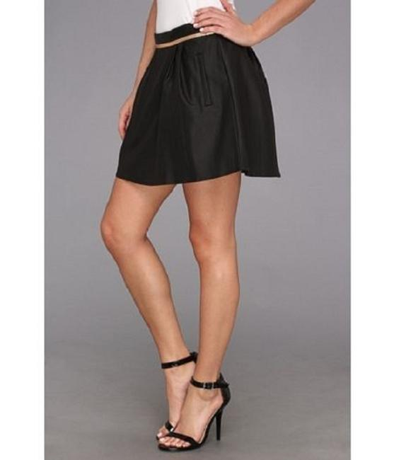 BCBGeneration Mini Faux Leather Pleated Metallic Mini Skirt BLACK Image 4