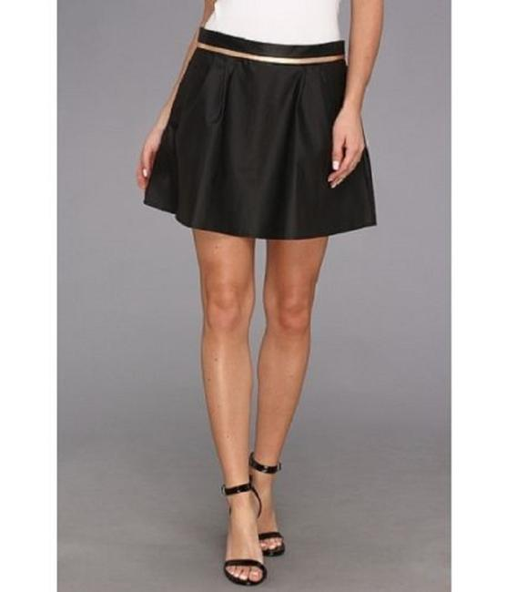 BCBGeneration Mini Faux Leather Pleated Metallic Mini Skirt BLACK Image 6