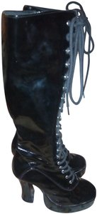 Ellie Shoes Party Patent Leather Night Out Black Boots