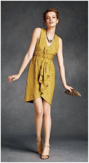 BHLDN Yellow Silk Tethered Vintage Bridesmaid/Mob Dress Size 10 (M) Image 3