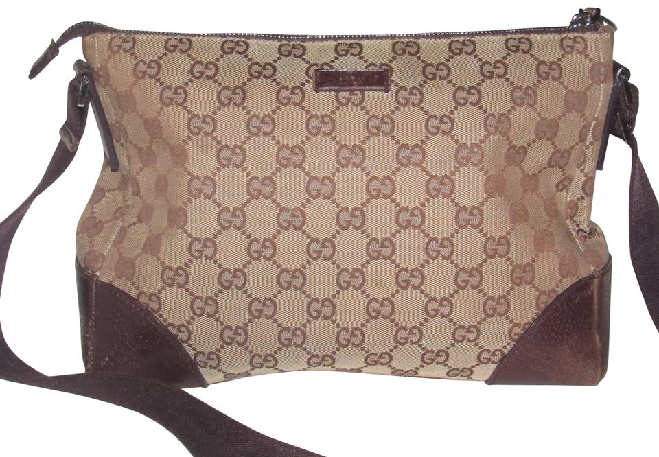 b9ad7af2863 Gucci Messenger Cross Body Chrome Hardware Mint Condition Canvas Leather  shades of brown large ...