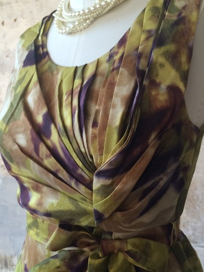 BHLDN Multicolor Silk Linen; Acetate Lining. Floral Starbust Vintage Bridesmaid/Mob Dress Size 6 (S) Image 2