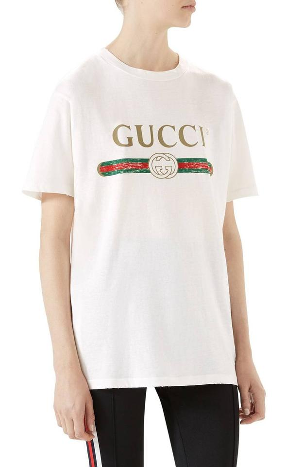 477efec4313 Gucci White New Distressed Medium Tee Shirt Size 8 (M) - Tradesy