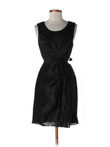 BHLDN Black Silk Linen; Acetate Lining. Starburst Modern Bridesmaid/Mob Dress Size 8 (M)