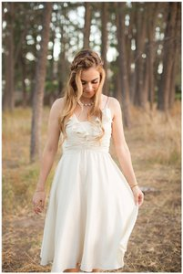 BHLDN Ivory Silk Couplet Casual Wedding Dress Size 0 (XS)