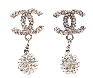 Chanel Chanel CC All over Shiny Crystal Ball Dangle Piercing Earrings