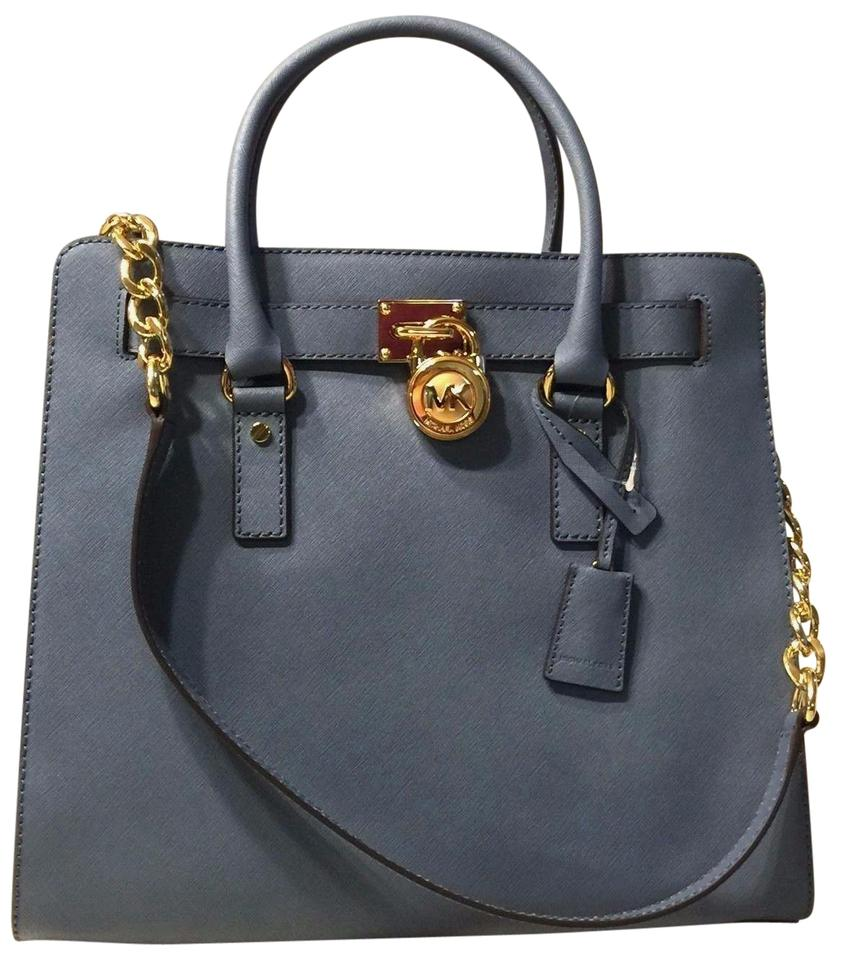 58e423b64c Michael Kors Hamilton Large New with Tags Lock and Key Cornflower Blue Gold  Hardware Saffiano Leather Tote
