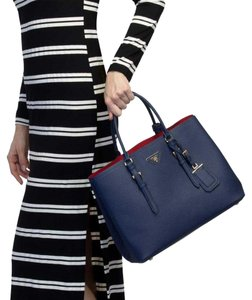 Prada Tote in Blue, Red